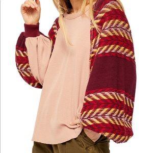 Free People Rainbow Sleeves Batwing Knit Top